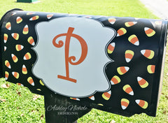 Candy Corn Initial Mailbox Cover