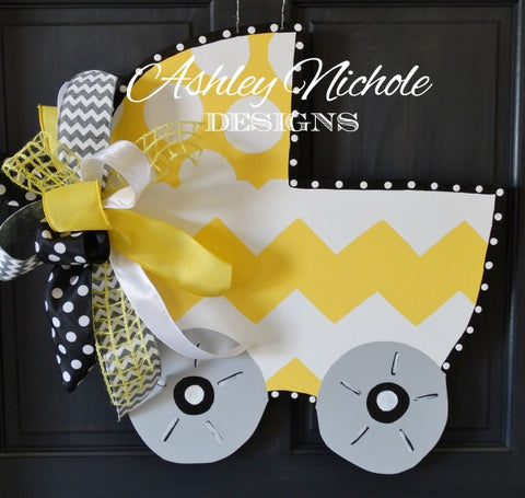 Bringing Home Baby Carriage Door Hanger - YELLOW