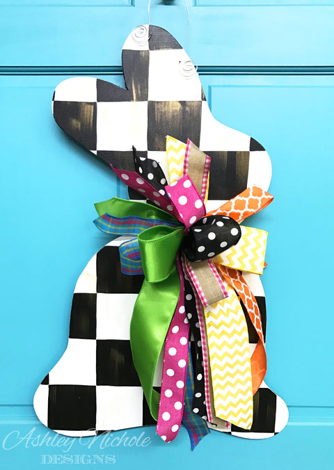 Bunny - Checkered with Gold Overlay - Door Hanger