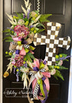 Checkered Cross Floral Wreath