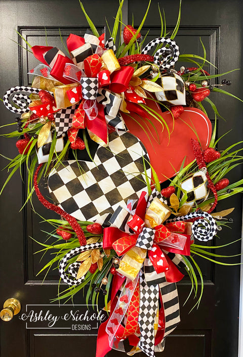 Checkered Double Heart Glitzy Round Valentine Wreath