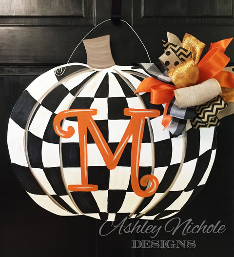 Checkered Pumpkin Door Hanger
