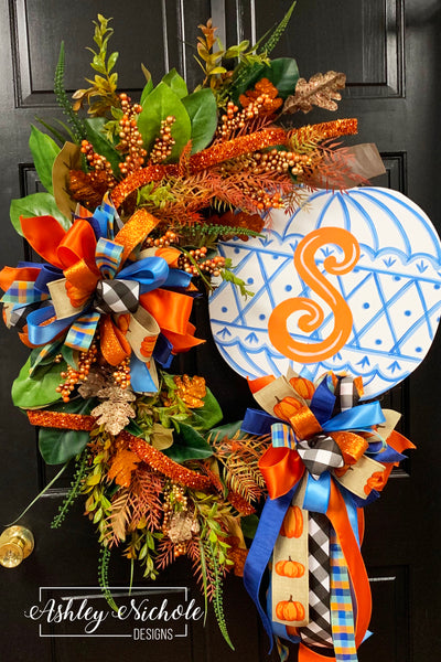 Chinoiserie Pumpkin Wreath