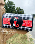 Christmas Stocking - Black and White Buffalo Check Mailbox Cover