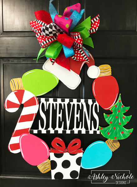 Christmas Monogram Name Door Hanger
