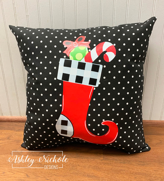 "18"" Custom Christmas Stocking - Buffalo Check on Black and White Dot Pillow"