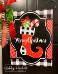 Christmas Stocking - Black and White Buffalo Check Garden Vinyl Flag