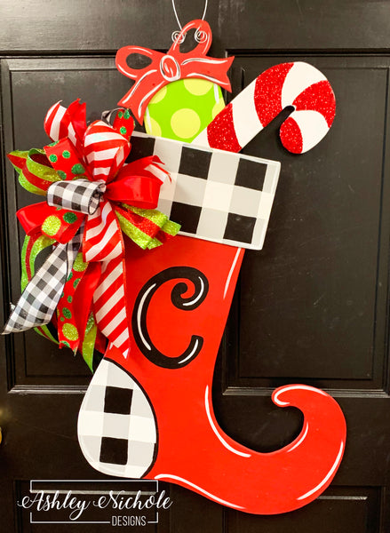 Christmas Stocking - Black and White Buffalo Check - Door Hanger