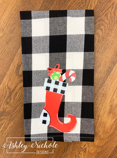 Christmas Stocking - Black and White Buffalo Check Dish Towel