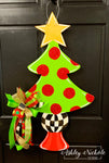 Christmas Tree - Gold Star and Checkered - Door Hanger