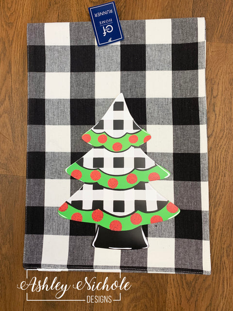 Christmas Tree - Black and White Buffalo Check Table Runner