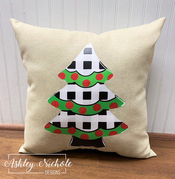 "18"" Custom Christmas Tree - Black and White Buffalo Check Pillow"