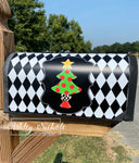 Christmas Tree - Gold Star and Checkered - Vinyl Mailbox Cover