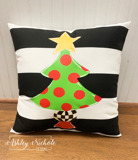 "18"" Custom Christmas Tree - Gold Star and Checkered - Pillow"