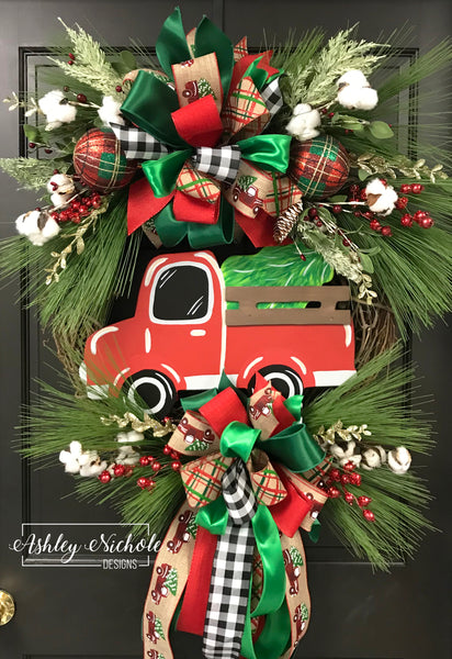 Christmas Tree Truck Wreath