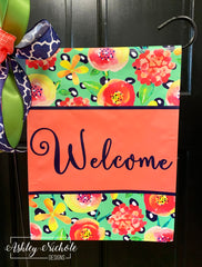 Coral Floral (NAVY) WELCOME Garden Vinyl Flag