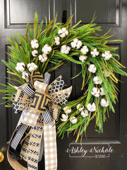 """Cotton and Twig Wreath 18/"""""""