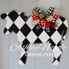 Cow-Black & White - Door Hanger