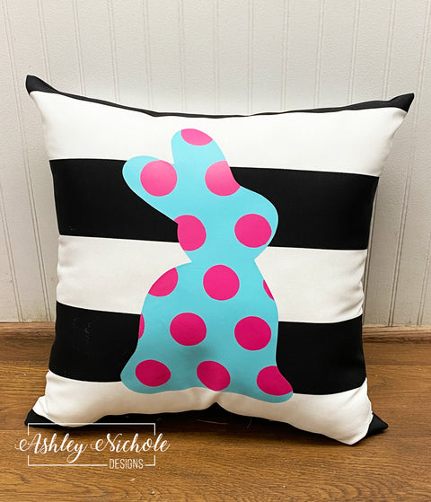 "18"" Custom Teal & Pink Dot Bunny Pillow"