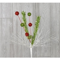 Pick - Glitter Needle with Ball Red/Green/White 28""