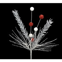 Pick - Glitter Needle with Ball Silver/Red/White 28""