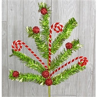 Pick - Tinsel Candy Cane Ball Spray Red and Green