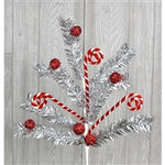 Pick - Tinsel Candy Cane Ball Spray Red and Silver