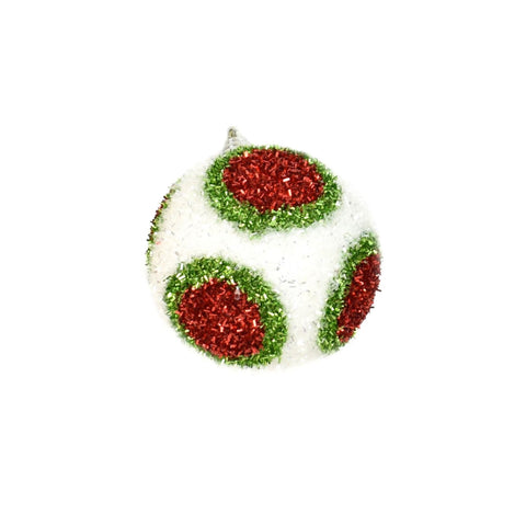 "4"" Dot Cut Tinsel Ball Ornament - White/Red/Green"