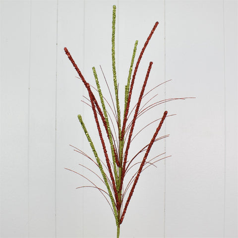 "36"" Glittered Millet Grass Spray - Red/Apple"