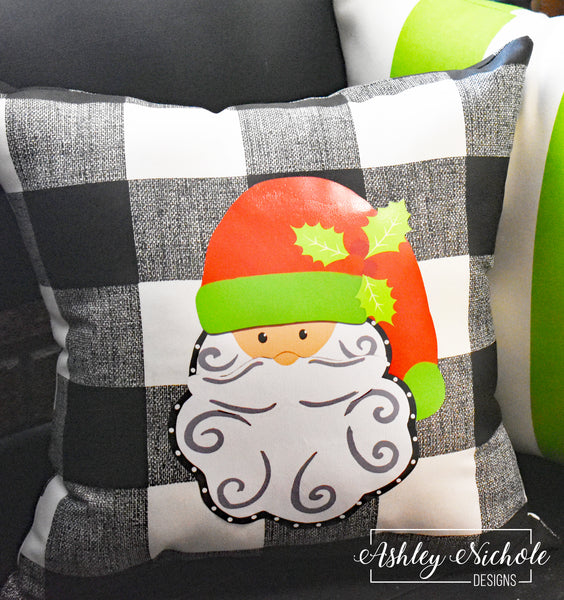 "18"" Custom-Santa Claus Pillow-Black and White Buffalo Check"