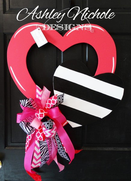 open heart pink door hanger