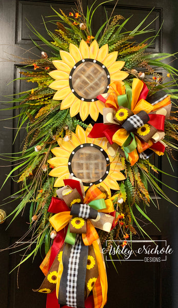 Double Sunflower Swag Wreath