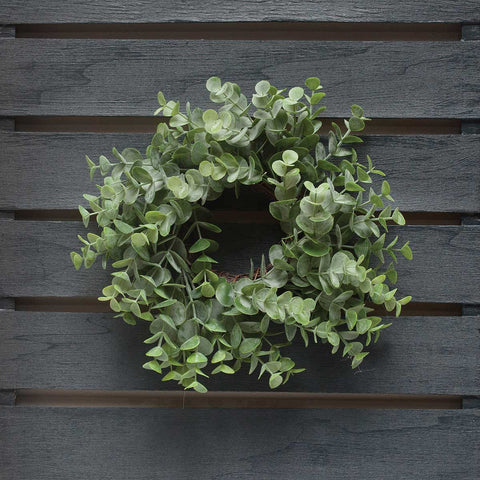 "10.5"" Grey Eucalyptus Mini Wreath - Candle Ring"