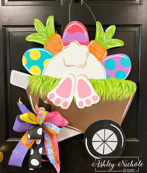 Wheelbarrow Easter Bunny Door Hanger