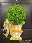 Fall Topiary - Tan, Orange & Green with Large Base - Door Hanger