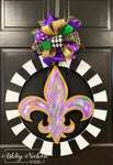 Fleur De Lis - Abstract - Circle Border - Mardi Gras Door Hanger