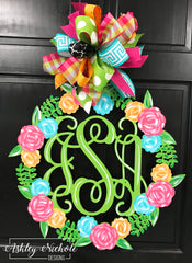 Floral Monogram Name Door Hanger