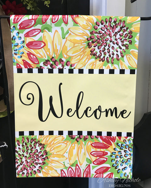 Floral Sunflower-Welcome-Vinyl Garden flag