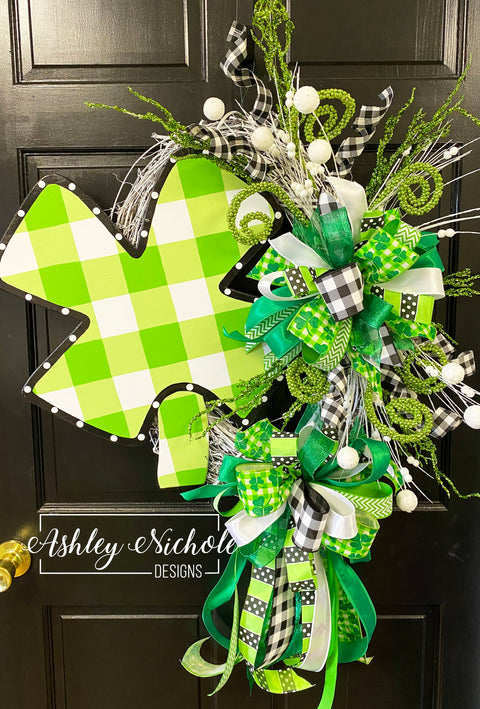 Four Leaf Clover  Buffalo Check Wreath