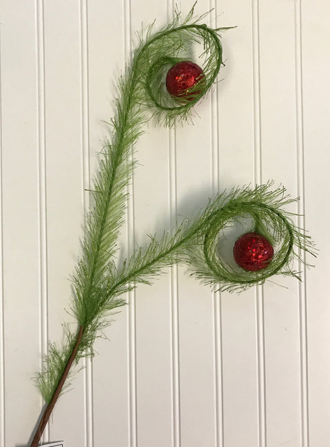Tree Topper Picks - Glitter Curled Grass w/Red Ball Spray