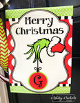 Grinch Inspired Initial Christmas Vinyl Garden Flag