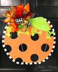 Funky Pumpkin - Black Dot - Door Hanger