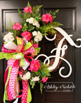 Geranium and Grasses Initial Wreath - PINK and WHITE - 18""