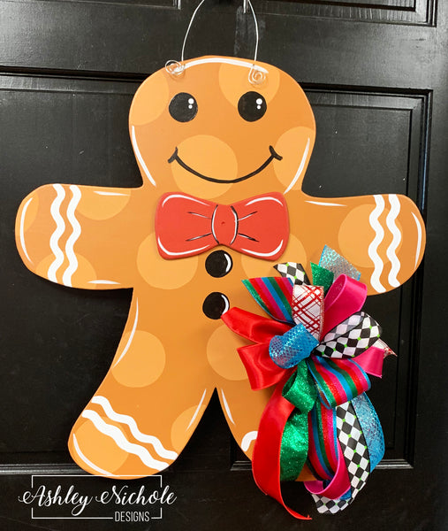 Gingerbread Boy with Bow Tie Door Hanger