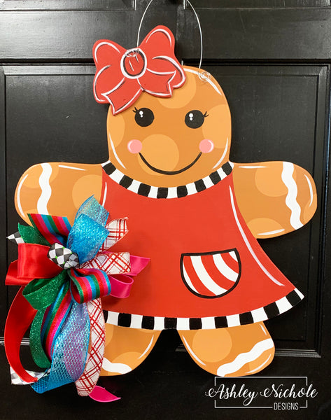 Gingerbread Girl with Hair Bow Door Hanger