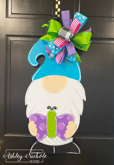 Gnome Spring and Summer with Butterfly Door Hanger