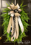 Grass Wreath-Oval with Mixed Grasses and Neutral Bow