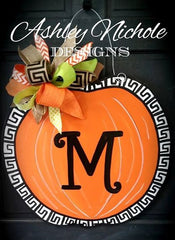 Greek Key Fall Pumpkin Door Hanger