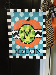 Personalized Green Dot Pumpkin Garden Vinyl Flag