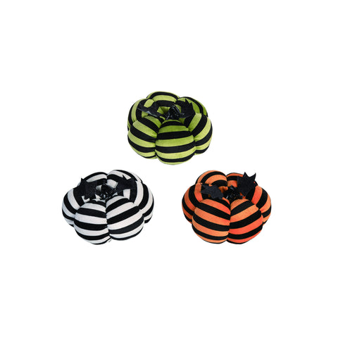 Plush Black Striped Pumpkin - Choose from 3 Designs